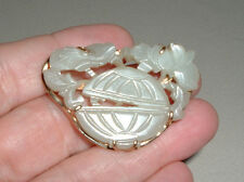 ANTIQUE CHINESE MINGS 14K WHITE JADE RICE BOWL PIN QING 19TH CENTURY  NO RESERVE