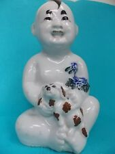 CHINESE REPUBLIC PERIOD LG. STATUE-PORCELAIN FIGURINE-CHILD W DOG-SIGNED-ANTIQUE