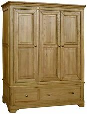 Linden solid oak furniture large triple bedroom wardrobe with drawer