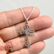 """925 Sterling Silver Antique Celtic Cross Pendant Necklace Italy Silver Chain 18"""""""