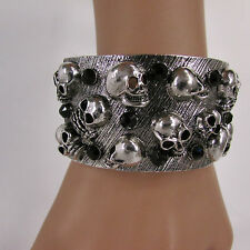 Women Antique Silver Skeleton Skull Bracelet Skeleton Fashion Black Rhinestones