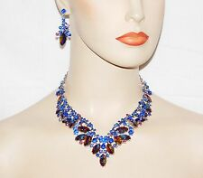 Glamorous Royal Blue Sapphire Rhinestone Crystal Necklace & Drop Earrings Set