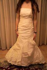 Vestito abito da sposa in satin nuovo atelier italiano taglia 44 panna Chiara