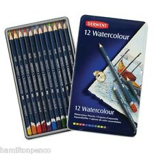 DERWENT WATERCOLOUR TIN of 12 water-soluble, versatile colour pencils