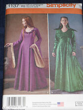 Misses Medieval Fantasy Costume sz 14-22 Simplicity 1137 Sewing Pattern