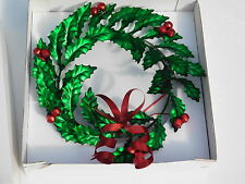 Department 56 HOLLY BOW WREATH 10 In. Christmas Metal Leaves Jingle Bells New D2
