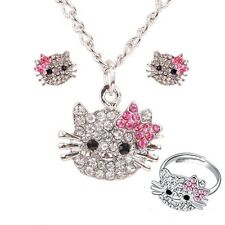 ❤️ SCHMUCKSET Kinder Schmuck STRASS Kette Ring Ohrringe HELLO KITTY !!!