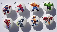 8 SUPERHERO SQUAD DRAWER DRESSER KNOBS (first picture) KIDS BOY  MADE AS ORDERED