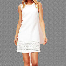 NEXT PREMIUM WHITE FLORAL EMBROIDERED LINEN SHIFT SUMMER DRESS FULLY LINED 6 UK