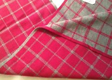 Coach Tattersall Pink Gray Plaid Wool Cotton Knit Stripe Dress Scarf F85215 NWT