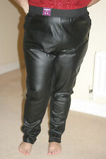 NEW LOOK Womens BLACK Faux LEATHER LEGGINGS TROUSERS uk26 us22 eu54 W w44i w112c