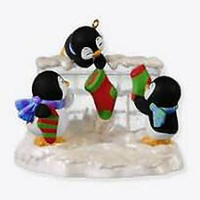 2010 HALLMARK Ornament  ~ A FISHY WISH * PENGUINS Stockings on Fireplace QXG7633