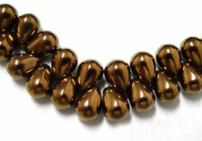 16 BRONZE CZECH GLASS TEAR DROP BEADS 8MM