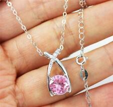 Solid 925 Sterling Silver, Pink Cubic Zirconia /CZ Pendant Necklace Jewellery18""