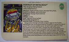 VINTAGE! 1989 Playmates Teenage Mutant Ninja Turtles Filecard-Metalhead