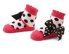 Mud Pie Zoey Hot Pink & Black Polka Dot Mary Jane Socks with Bows  0-12 Months