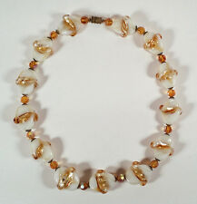VINTAGE VENETIAN ITALIAN MURANO GLASS TWISTED FOIL BEADS CRYSTALS NECKLACE 19.5""