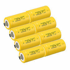 8PCS anmas POWER SUB C SC 1.2V 3000mAh ni-md nimd Ricaricabile Batterie, Giallo