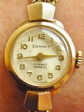 Ladies 9ct Gold 1965 Summit Swiss Watch and Bracelet Serviced + 6mth warranty