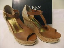 LAUREN RALPH LAUREN Sheila Brown Leather Wedge Sandal Heel Size 7.5 EU NIB $109