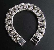 MEN'S Patterned  Link Bracelet 8.5 inches Cast in 925 Sterling Silver 99 Grams