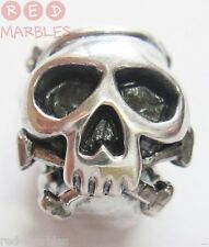 Genuine New 925 Sterling Silver Skull Charm Bead By Source. Brand New, Funky.