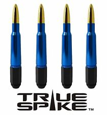 20 VMS RACING 7 INCH 12X1.5 STEEL LUG NUTS W/ BLUE GOLD 50 CAL BULLET SPIKES