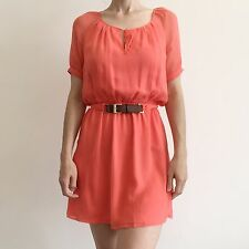 nwt | Marciano Guess Coral Silk Belted Elastic Waist Summer Shirt Dress S
