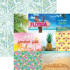 "CUSTOM SCRAPBOOK PAPER SET FLORIDA BEACH DISNEY TRAVEL VACATION 12"" X 12"" PAPERS"