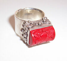 Sajen Sterling Silver Carved Cinnabar Ring Size 7