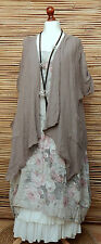 LAGENLOOK OVERSIZE LINEN AMAZING 2 PCS FLORAL DRESS+JACKET*MOCHA/BEIGE*Sz XL-XXL