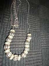 "Silver Tone Snake Chain Necklace Silver-Grey Beads & Clear Diamante - 18"" - 21"""