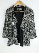 M&S Womens Size 14 Smart Patterned Light Waterfall Jacket Relaxed Blazer A+ cond