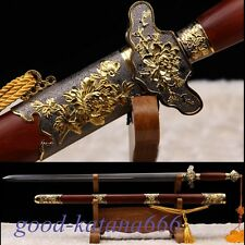 "Hand Forge Chinese Sword ""Taiji Jian"" (剑) Folded Patter Steel Katana Sharp Blade"