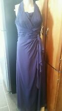 "David's Bridal size 6 lapis purple halter full length style""12688"""