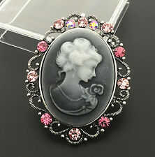 Vintage Lady Grey Cameo w/ Crystal Filigree Brooch Pin&Pendant For Necklace
