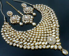 WHITE CZ PEARL KUNDAN GOLD TONE NECKLACE SET BOLLYWOOD BRIDAL PARTY WEAR JEWELRY