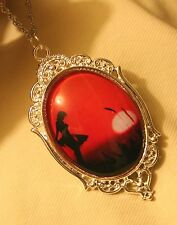 Lovely Silvertone Ballerina in the Sunset Ballet Dancer Cameo Pendant Necklace
