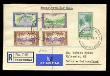 COOK ISLANDS 1949 FIRST DAY COVER...3/- 5d 3d 1/2d...REGISTERED RARATONGA