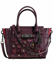 NWT Authentic Coach Willow Floral Swagger 21 In Glovetanned Leather Oxblood $495