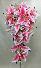 Artificial Silk Flower Teardrop Bridal Wedding Bouquet Pink Lily Flowers
