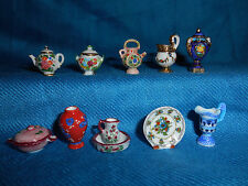Minature Decorative TEA POTS PITCHERS Bowls VASES Set 10 FRENCH Porcelain FEVES