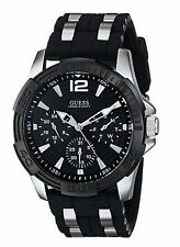 NEW Guess U366G1 Men's Black Multi-function Silicone Watch