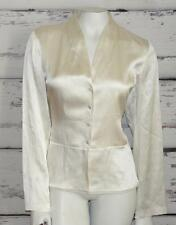 EILEEN FISHER~$238.00~IVORY~SATIN~SILK~LONG SLEEVE~ELEGANT BUTTON BLOUSE TOP~M