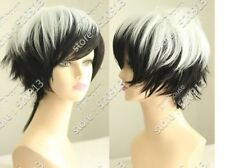 NEW white and black short straight cosplay wig + hairnet