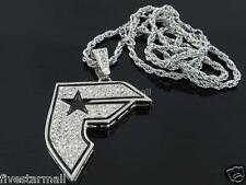 "FAMOUS STARS CZ ICED OUT PENDANT 36"" ROPE CHAIN HIPHOP BLING"