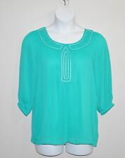 Simply. Chloe Dao Crinkle Tunic with Beaded Trim Size L Aqua