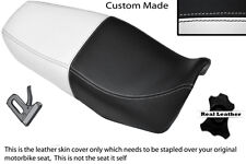 WHITE & BLACK CUSTOM FITS SUZUKI EN 125 DUAL LEATHER SEAT COVER