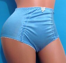 Blue High Cut Waist girdle Ruched Soft Sissy brief Bikini panties Sz L