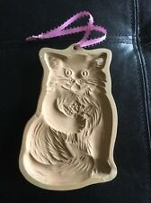 1984 Brown Bag Stoneware Art Craft Cookie Cutter Mold Persian Cat With Flowers